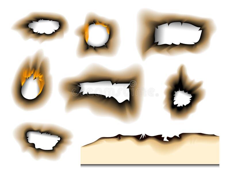 A parte queimada queimada desvaneceu-se ilustração rasgada folha isolada do vetor da cinza da página do fogo do furo a chama real ilustração do vetor