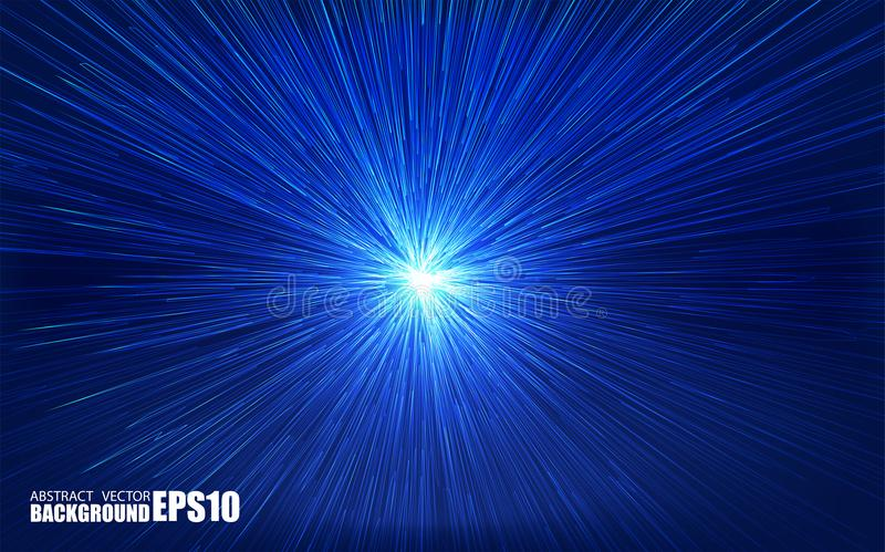 Parte radial brillante estallada con las partículas lineares Ejemplo del absrtact del vector Fondo azul con la explosión Rayos li libre illustration