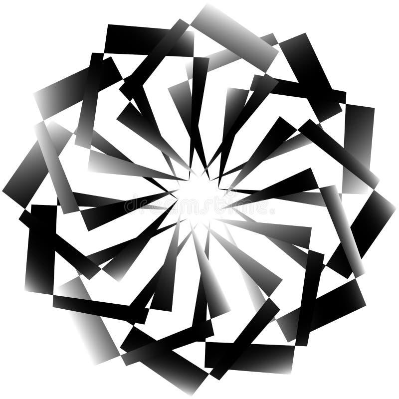 Parte radial, espiral elemento decorativo geométrico - monochr abstracto libre illustration