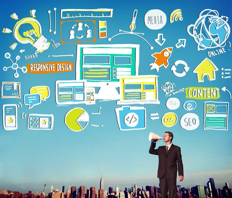 Parte rispondente Concep online del contenuto di qualità di progettazione rispondente immagini stock