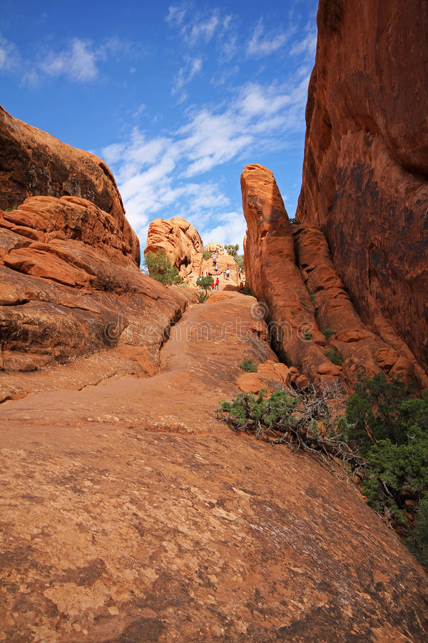 Parte rocosa del rastro del jardín del diablo, parque nacional de los arcos imagen de archivo