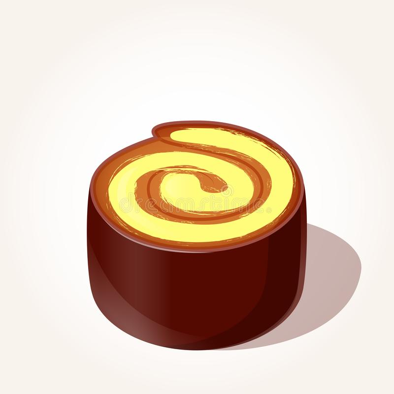 Parte saboroso colorida de rolo do chocolate com o creme do limão no estilo dos desenhos animados isolado no fundo branco Vetor ilustração do vetor