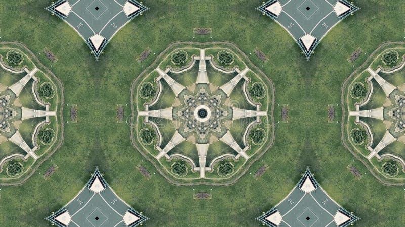 Parte superior aérea abaixo da ideia do tráfego rodoviário do carrossel em Barcelona, Espanha Efeito calidoscópico ilustração do vetor