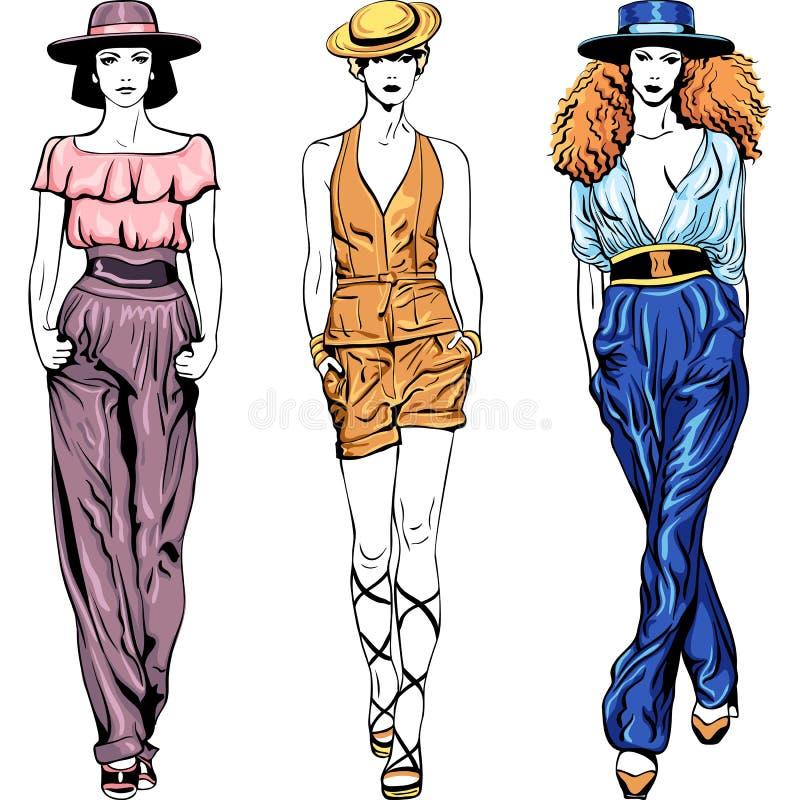 A parte superior ajustada da forma do vetor modela em ternos das calças e ilustração royalty free