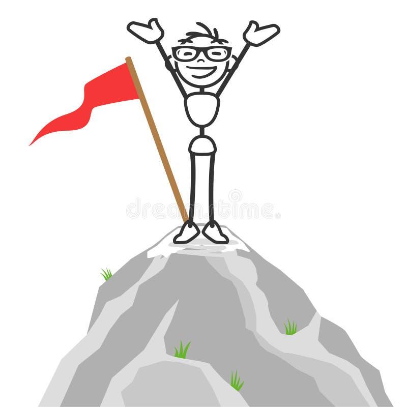Parte superior bem sucedida da montanha do homem da vara do vetor ilustração royalty free