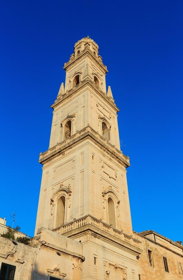 Parte superior da catedral de Lecce, Lecce, Itália fotografia de stock royalty free
