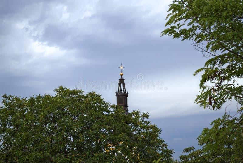Parte superior da igreja entre árvores e céu de distante foto de stock