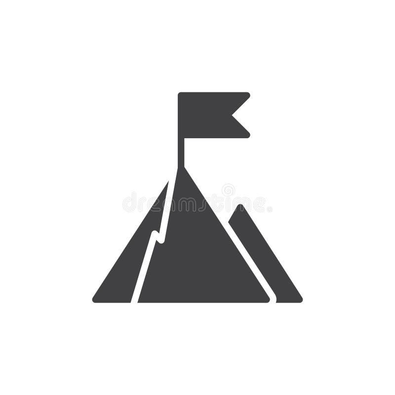 Parte superior da montanha com vetor do ícone da bandeira ilustração stock