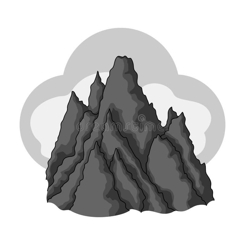 A parte superior da montanha nas nuvens Único ícone do alpinismo na ilustração monocromática do estoque do símbolo do vetor do es ilustração do vetor
