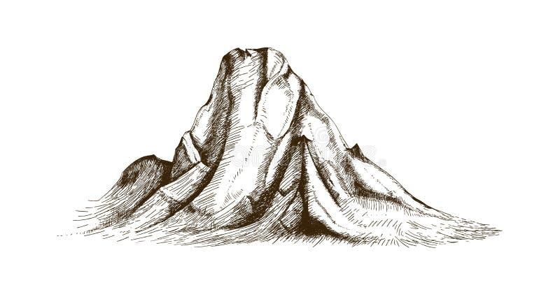 Parte superior da montanha ou mão da cimeira tirada com linhas de contorno no fundo branco Desenho elegante do vintage do penhasc ilustração do vetor