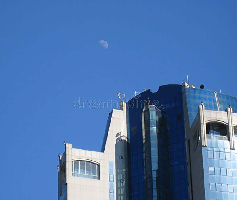 Parte superior da opinião da construção do arranha-céus da Moscou-cidade, Rússia A Moscou-cidade é um distrito financeiro novo no foto de stock royalty free
