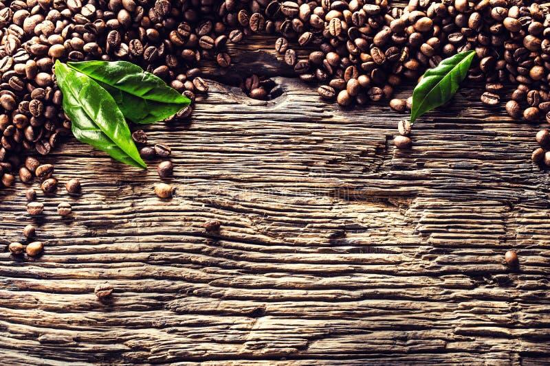 Parte superior de feij?es de caf? da vista e das folhas verdes na tabela de carvalho r?stica fotografia de stock royalty free