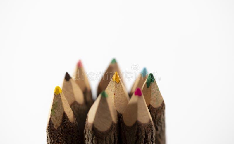 Parte superior de lápices de madera clasificados del color foto de archivo libre de regalías