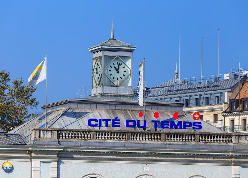 Parte superior del edificio de du Temps de la citación en Ginebra, Suiza fotografía de archivo libre de regalías