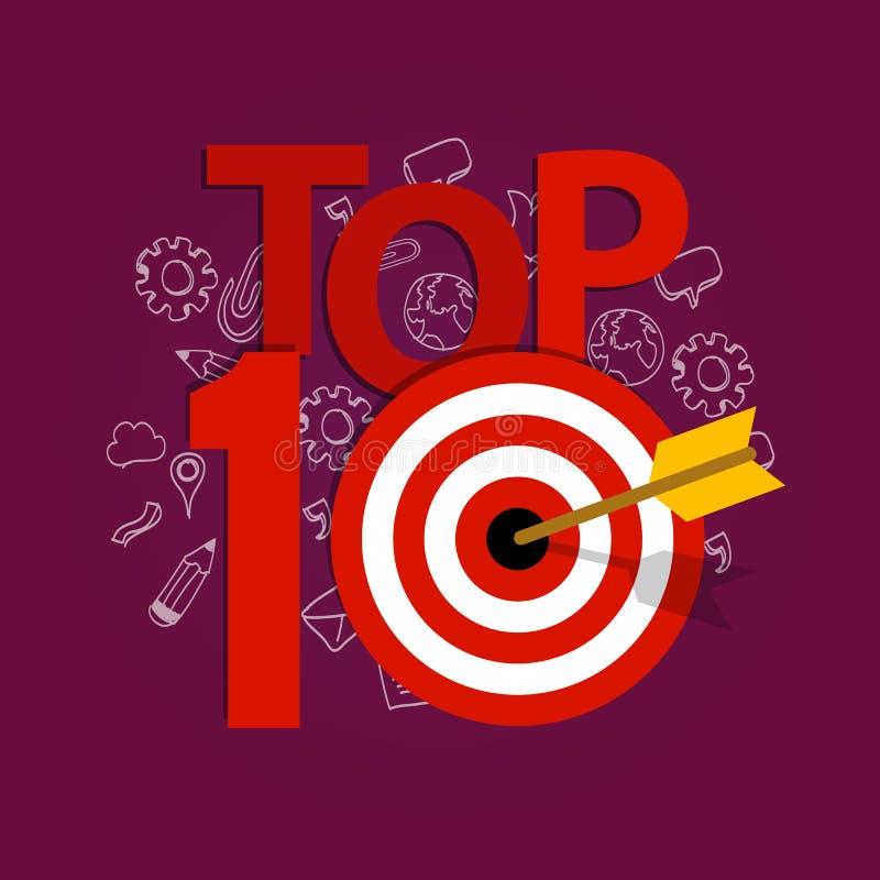 A parte superior dez 10 alista o melhor do alvo da realização do vencedor ilustração stock