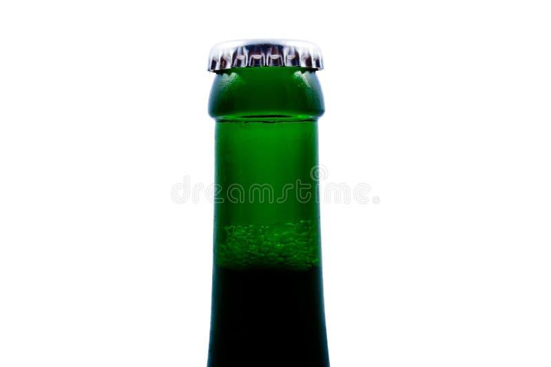 Parte superior do fim do frasco de cerveja, isolada fotografia de stock