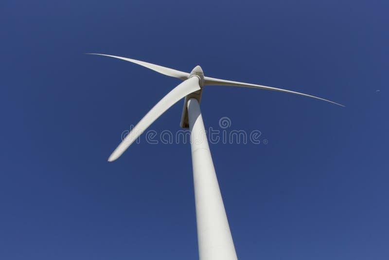 Parte superior do moinho de vento vista de baixo com da lua do dia no céu azul fotografia de stock royalty free