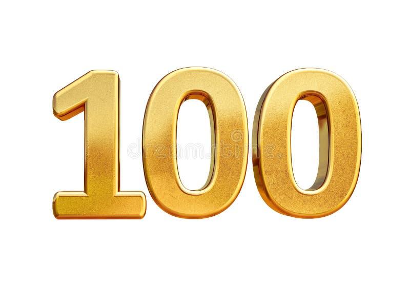 Parte superior 100 do sinal do aniversário do ouro 3d 100th ilustração stock
