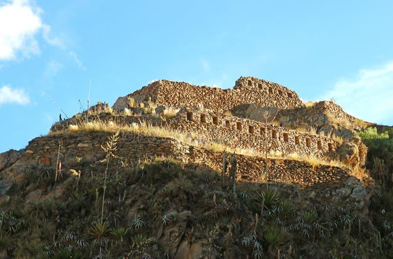 Parte superior do Temple Hill de Ollantaytambo Inca Ruins, Urubamba, Cusco, Peru imagem de stock royalty free