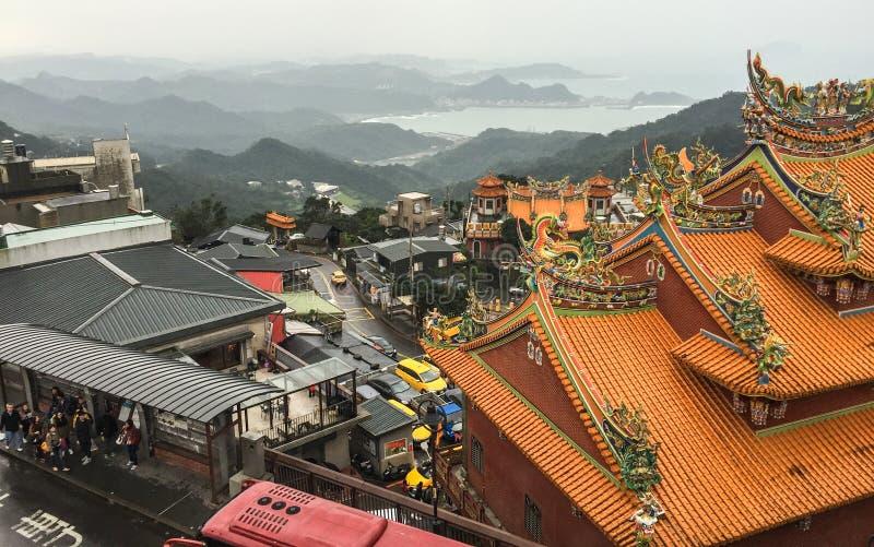 Parte superior do templo chinês em Jiufen, Taiwan fotos de stock royalty free