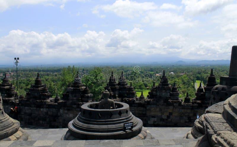 A parte superior do templo de Borobudur fotografia de stock