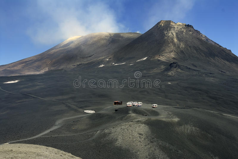 Parte superior do vulcão de Etna fotos de stock royalty free