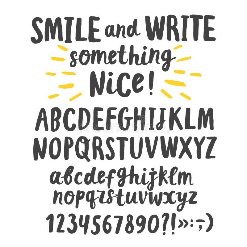 Parte superior e letras minúsculas da tinta da escova ilustração stock