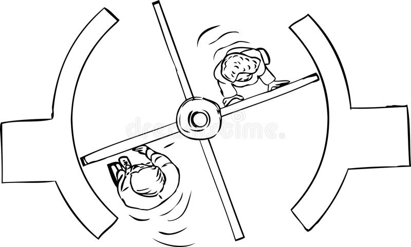 Parte superior para baixo do esboço da porta giratória ilustração royalty free