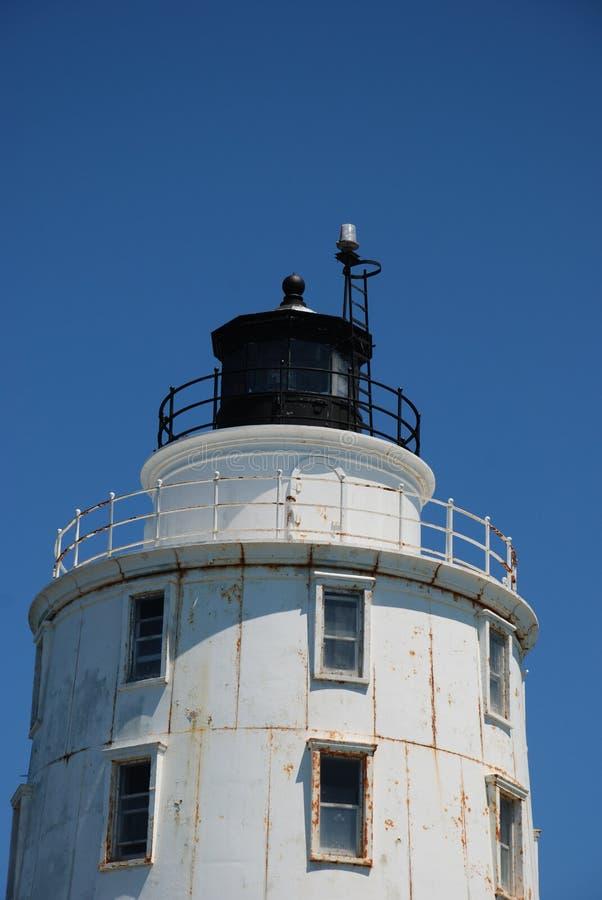 Parte superior próxima da vista do porto do farol do refúgio, Lewes, Delaware fotos de stock
