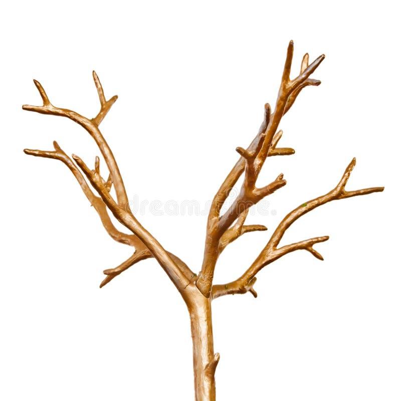 Parte superior seca lustrada decorativa da árvore fotografia de stock