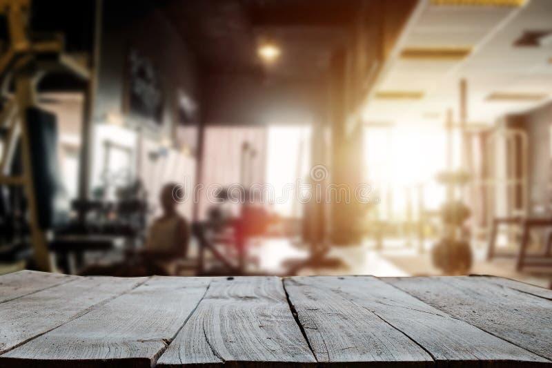 Parte superior vazia do espa?o de madeira da madeira da mesa das prateleiras fotografia de stock