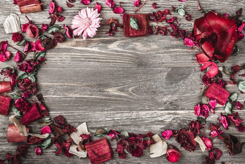 Parte superior, parte superior, vista de cima de, das pétalas secadas, pintadas decorativas da flor, casca, no estilo do Natal fotografia de stock