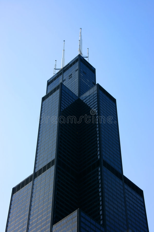 Parte superiore del Sears Tower da sotto immagine stock