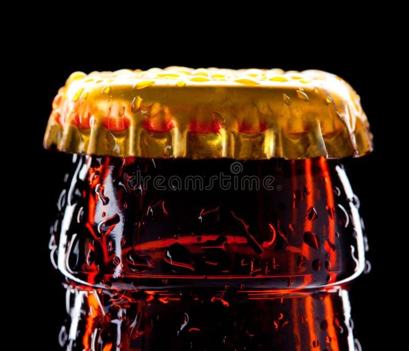 Parte Superiore Della Bottiglia Da Birra Bagnata Immagini Stock Libere da Diritti