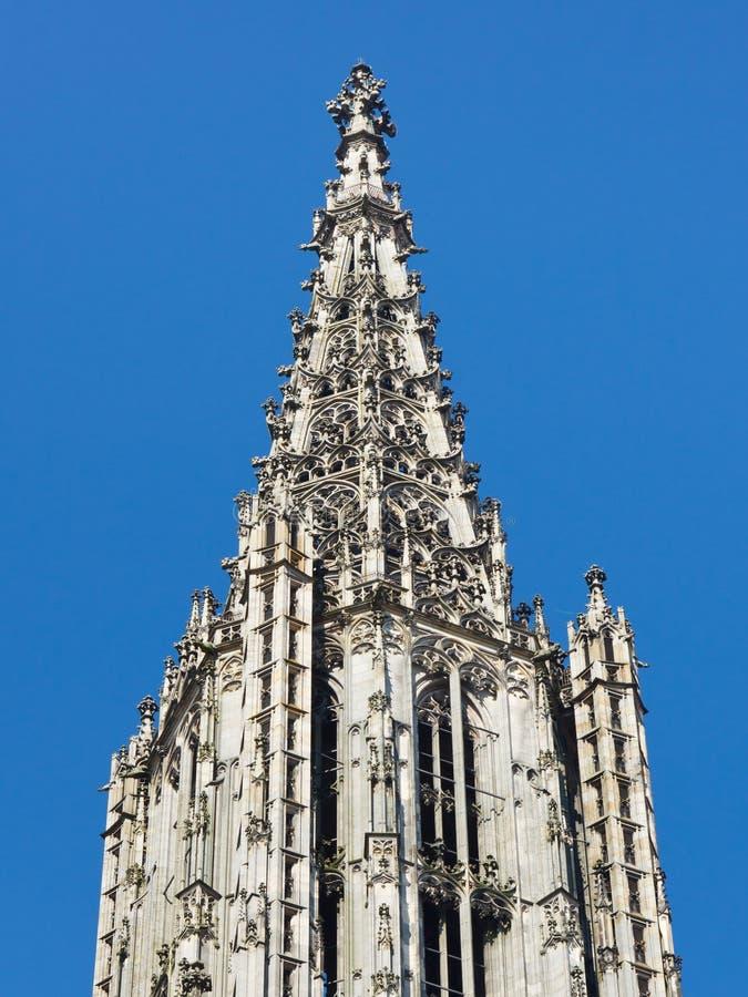 Parte superiore della cattedrale di Ulm (Ulmer Muenster), Germania fotografie stock libere da diritti