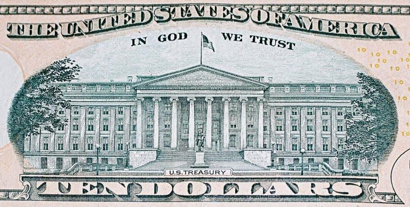 Parte traseira da nota de dólar dez fotografia de stock royalty free