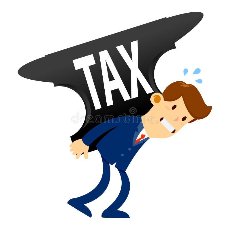 Parte traseira de Carry Tax Burden On His do homem de negócios ilustração do vetor