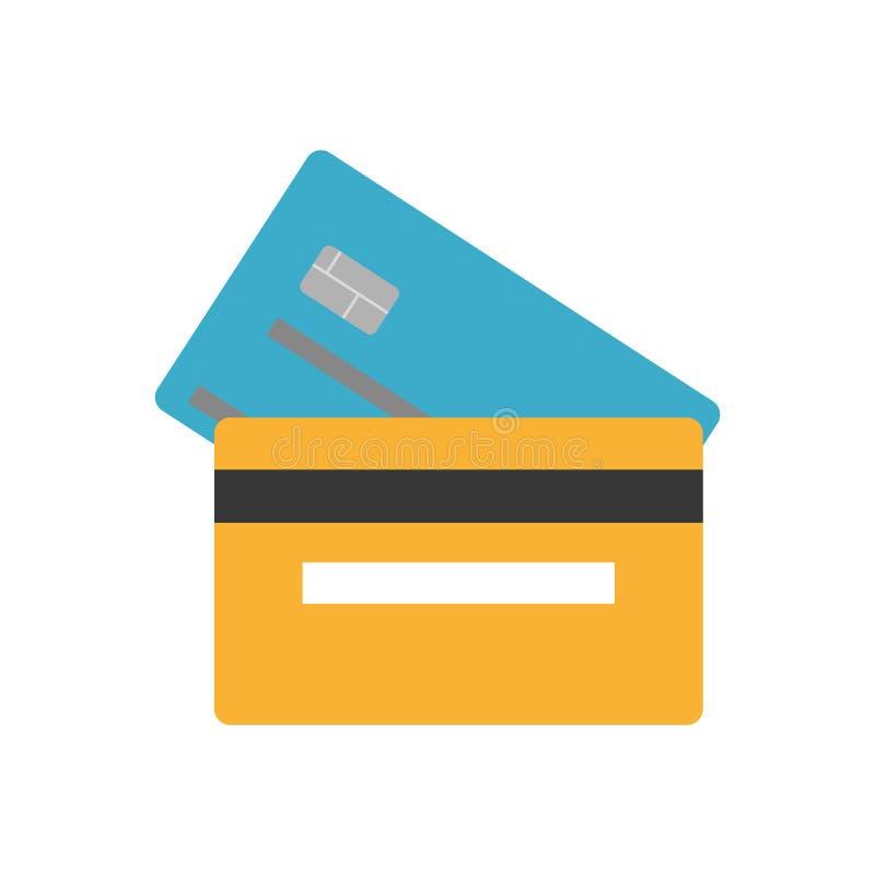 Parte traseira de cartão do crédito bancário do azul e do orande e parte anterior, ícone liso do vetor do estilo do dinheiro  ilustração royalty free