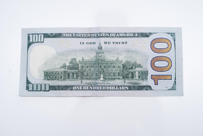A parte traseira de cem notas de dólar fotos de stock