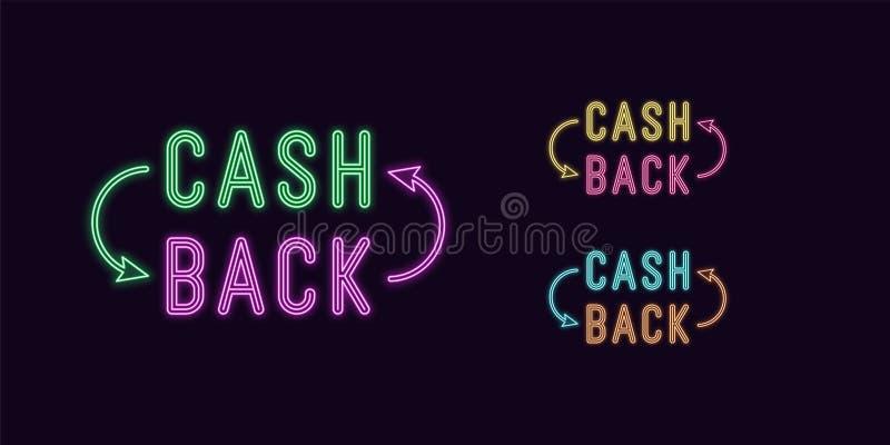 Parte traseira de néon do dinheiro do texto, título Etiqueta de incandescência de Cashback ilustração stock