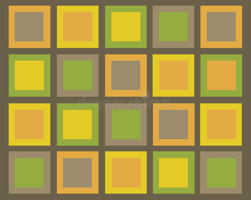 Parte traseira de quadrados marrom, verde, alaranjada e amarela retro ilustração do vetor
