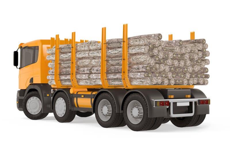 Parte traseira de registro carregada pesada do caminhão da madeira ilustração stock