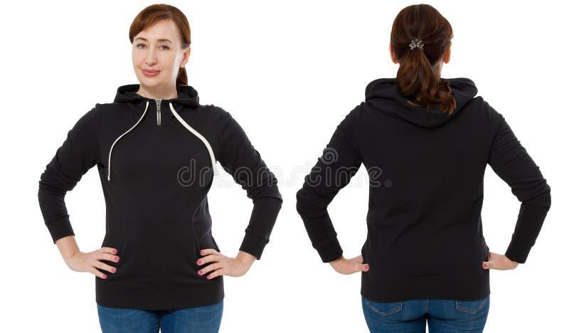 Parte traseira dianteira e opinião preta traseira da camiseta Mulher na roupa do molde para o espaço da cópia e da cópia isolado  imagem de stock
