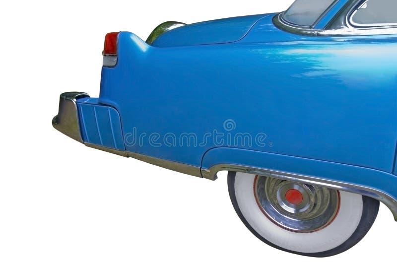 Parte traseira do carro clássico azul grande fotografia de stock