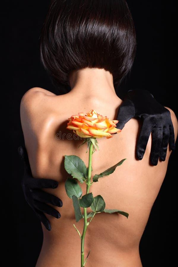 A parte traseira do modelo com laranja levantou-se fotografia de stock royalty free