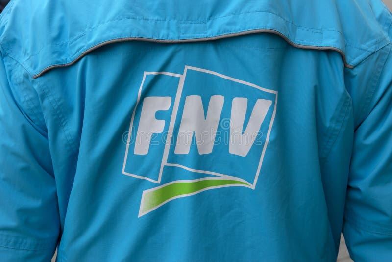 Parte traseira FNV Logo At Amsterdam The Netherlands 2019 fotos de stock royalty free