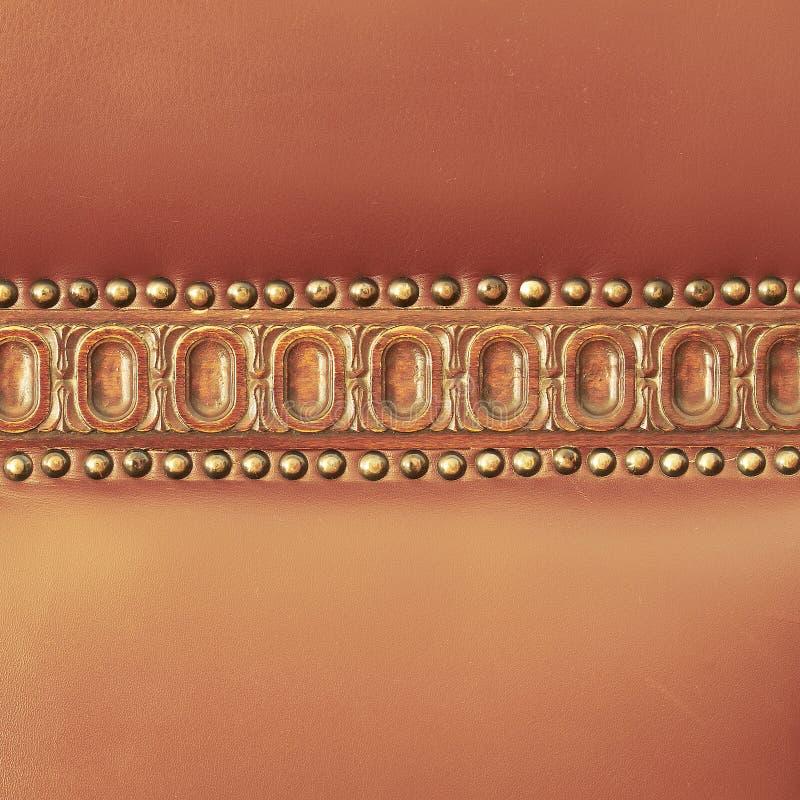 Parte traseira Hand-made do couro da cadeira fotografia de stock