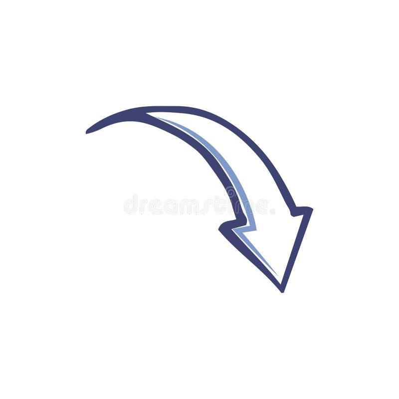 Parte traseira projetada seta do ponteiro abaixo do vetor isolado ilustração stock