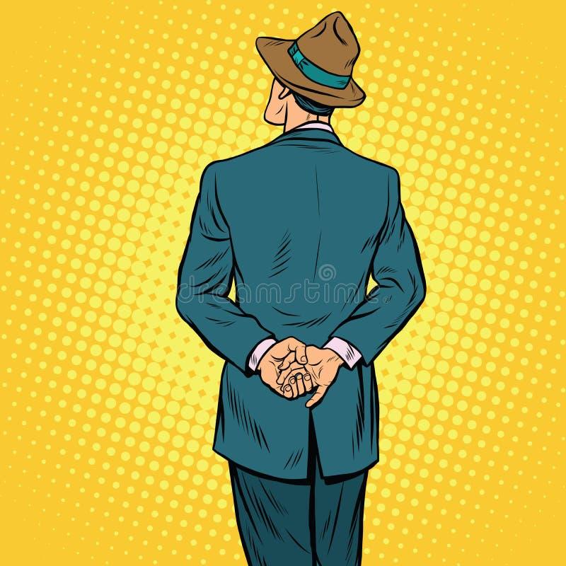 Parte traseira retro do homem ilustração stock