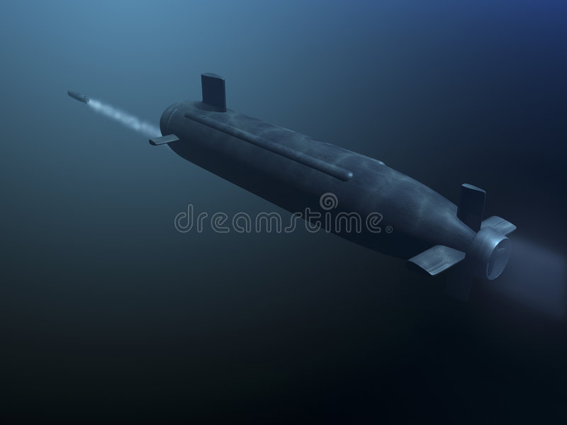parte traseira submarina do míssil do tiro 3D ilustração royalty free